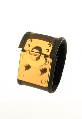 CSHEON gold and brown Haydes Deep Red Saffiano Leather Bracelet Cuff 4CBA4AC3811F03GS_1