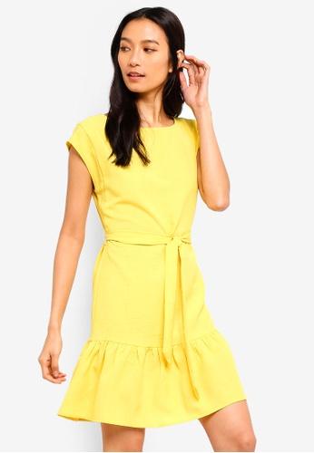 ZALORA yellow Cap Sleeves Dress 8AE80AA2B2F3CAGS_1