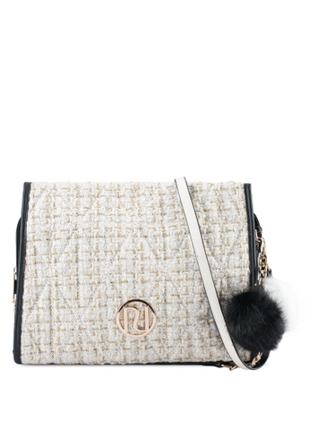 River Island white and beige Boucle Quilted Underarm Bag RI009AC0SF6PMY_1