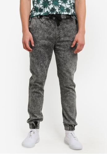 UniqTee black Acid Wash Denim Joggers UN097AA0S226MY_1