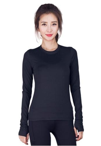 B-Code black ZYG3036-Lady Quick Drying Running Fitness Yoga Sports Top -Black 7D953AA9C23290GS_1