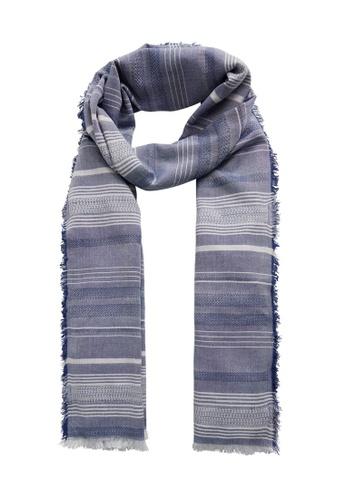 MANGO Man blue Stripe-Pattern Cotton Scarf 8BCF9AC8EF52AEGS_1