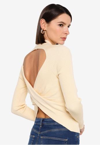 Vero Moda beige Belina Ls Highneck Cut Out Blouse 5591AAAD43A088GS_1