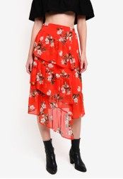 Miss Selfridge red Red Floral Print Midi Skirt MI665AA0RQJ8MY_1