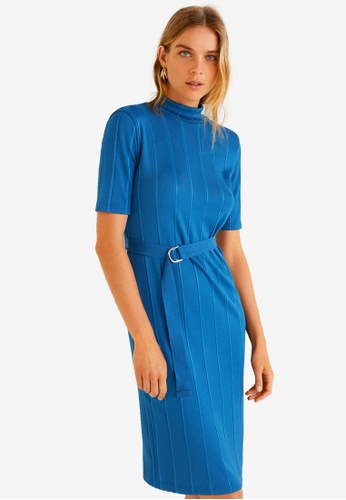 Mango blue Belt Ribbed Dress A381AAAC1AA6EDGS_1