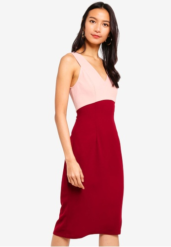ZALORA red and pink V-Neck Sheath Dress B8223AAE586A5DGS_1
