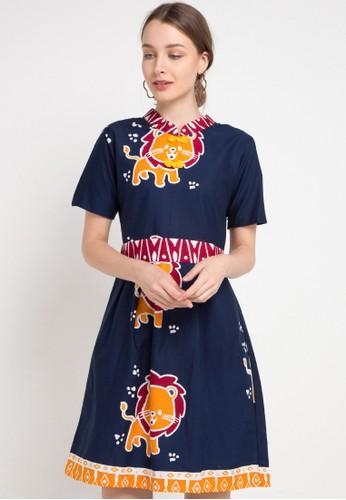 Le Viel Batik blue and multi Elina Minidress Lion C32DCAA03B3465GS_1