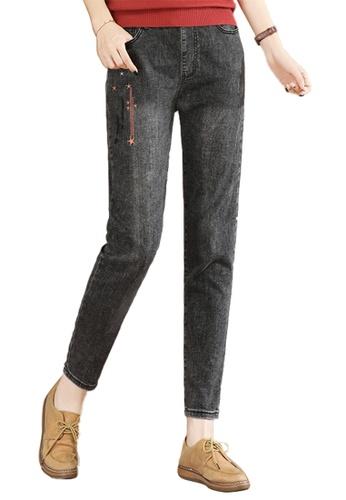 A-IN GIRLS black Elastic Waist All-Match Jeans 3425BAA86DF187GS_1