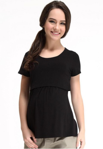 Bove by Spring Maternity black Knitted Short Sleeved Aggie Empire Top 4FE3CAA483E8BDGS_1