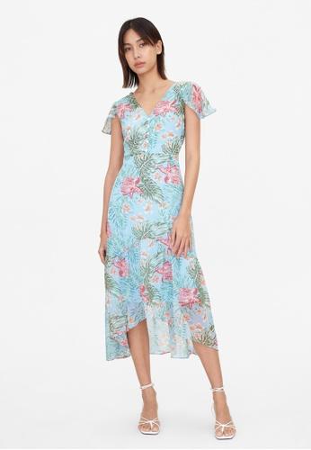 Pomelo blue V Open Back Hawaiian Print Dress - Blue 1347BAA614DADFGS_1