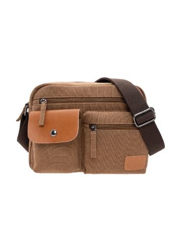 Jack Studio brown Jack Studio Fashion Canvas Shoulder Messenger Crossbody Bag 56918AC0153D54GS_1