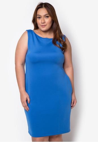 Hug blue Plus Size Boat Neckline Sheath Dress HU902AA76CFBPH_1