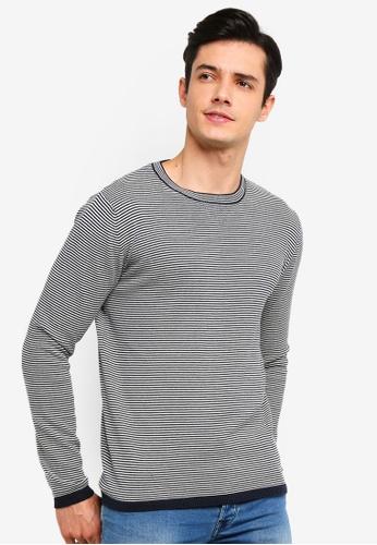 !Solid 海軍藍色 Ramon Micro 條紋針織Sweater A9F3EAA5BF0B6AGS_1