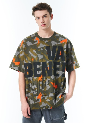 United Colors of Benetton green Printed T-shirt 6F6C5AA0C26FDDGS_1