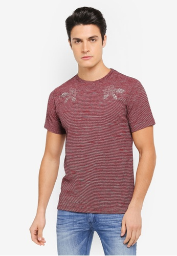 ZALORA red Embroidered Textured Stripe Tee 5AB44AA4F58450GS_1