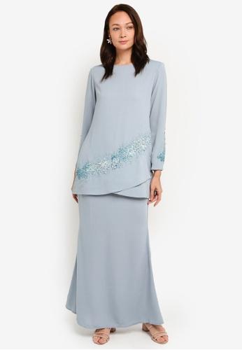 Baju Kurung Kain Duyung from BYN in Blue