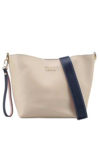 PLAYBOY BUNNY beige Colourblock Sling Bag 8F06EAC3636075GS_1