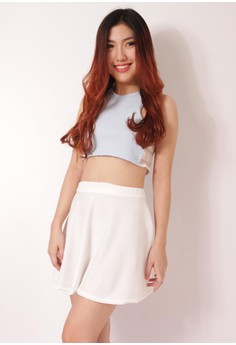 Laced Halter Crop Top and Mini Circle Skirt Coordinates