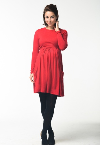 Bove by Spring Maternity red Knitted Long Sleeved Mai High Neck Dress Red B235FAAB017504GS_1