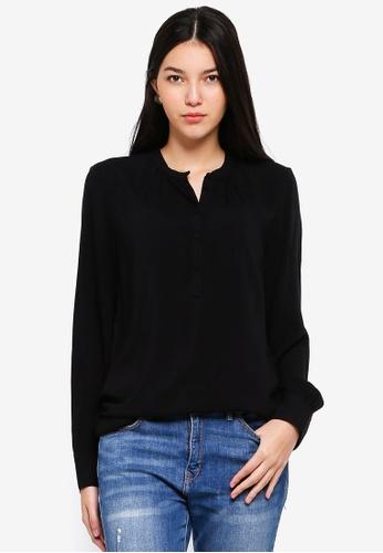 JACQUELINE DE YONG black Fanny Placket Shirt AE55DAAEC29C3DGS_1