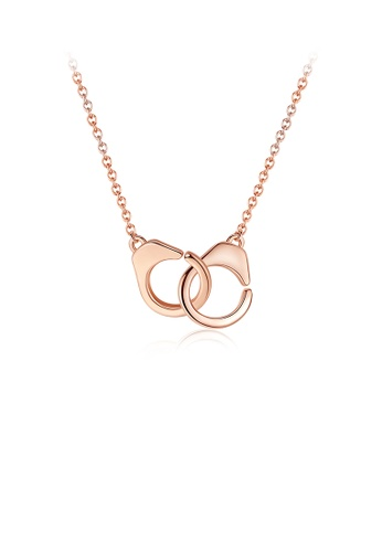 Glamorousky silver 925 Sterling Silver Plated Rose Gold Simple Creative Handcuff Pendant with Necklace 999A3ACA8974A3GS_1