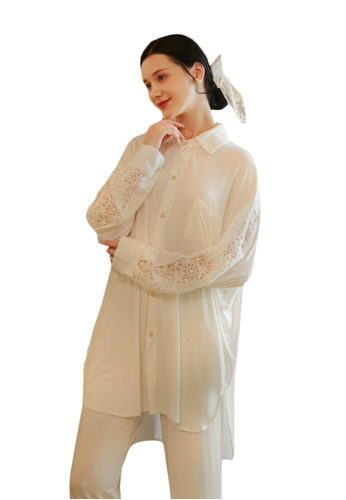 LYCKA white LML1285-Lady Casual Pajamas Two Pieces Set-White 87F86AA68E2DA7GS_1
