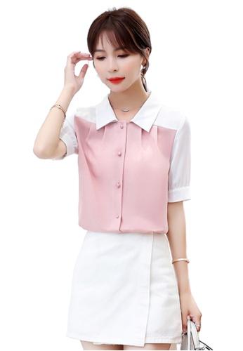 Halo pink Colourblock Chiffon Blouses 00393AA85E4DE4GS_1