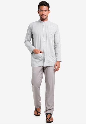 Lubna grey Grid Double Placket Baju Melayu Teluk Belanga 8942EAACC13F35GS_1