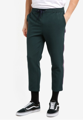 Topman 綠色 Green Slim Cropped Taping Joggers DE5DCAA552A0E7GS_1