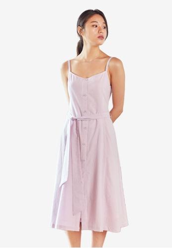 NAIN purple Stripe Flare Dress F6296AACF54936GS_1
