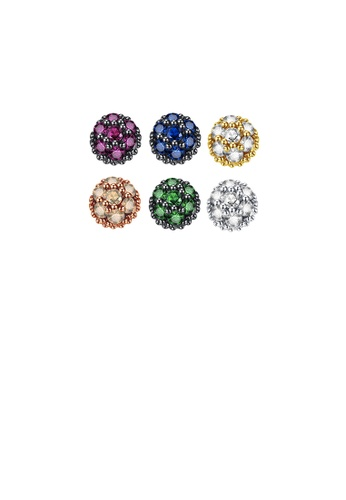 Glamorousky silver 925 Sterling Silver Simple and Exquisite Mix and Match Color Geometric Round Stud Earrings with Cubic Zirconia F5F43ACA5A62F6GS_1