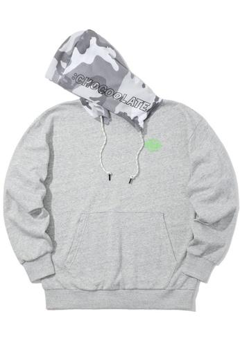 :CHOCOOLATE grey Contrast hood hoodie 72D1EAABF10D95GS_1