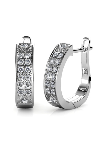 Her Jewellery silver Meg Hoop Earrings -  Made with premium grade crystals from Austria 54E90ACDD0B574GS_1