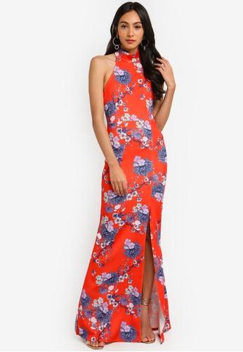 48819afab76d1 Floral Choker Maxi Dress