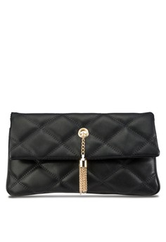 Quilted Fashion Sling Clutch With Metal Tassels