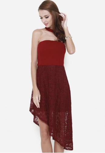Sophialuv red My Lace Affair Tube Asymmetrical Lace Dress in Maroon 417E6AAA3F0BE8GS_1