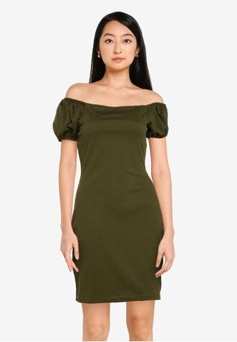 ZALORA BASICS green Puff Sleeves Rib Bodycon Dress 2FD8BAA496212BGS_1