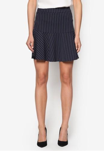 條紋喇叭短裙、 服飾、 裙子ZALORA條紋喇叭短裙最新折價