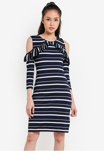 WAREHOUSE blue Stripe Cold Shoulder Dress WA653AA79UPOMY_1