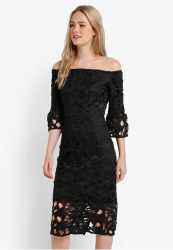 Dorothy Perkins black Black Lace Bardot Pencil Dress DO816AA0RA6SMY_1