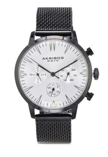 Akribos XXIV black Day Date Black Mesh Watch D424DAC8DF2195GS_1