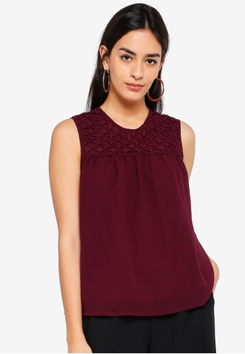 Vero Moda red Julia O-neck Top 58B32AA6CBBD46GS_1