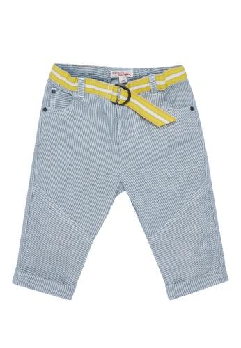 Du Pareil Au Même (DPAM) white Belted Stripe Pants C4BC7KA4F36533GS_1