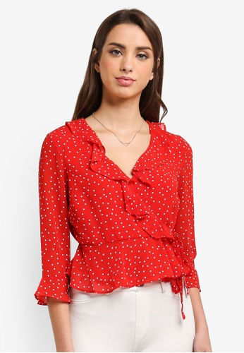 Bardot red Spotty Wrap Top BA332AA0ST8PMY_1