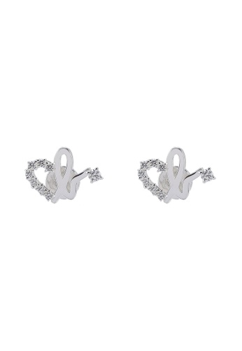 3a28ca26c Agnes B silver Iconic Heart B. Diamante Stud Earrings C76B5ACB7F2130GS_1