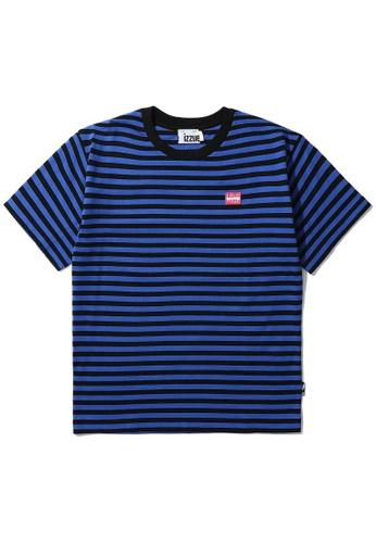 izzue blue Reversed stripe tee EF3D0AAB0EEAD0GS_1
