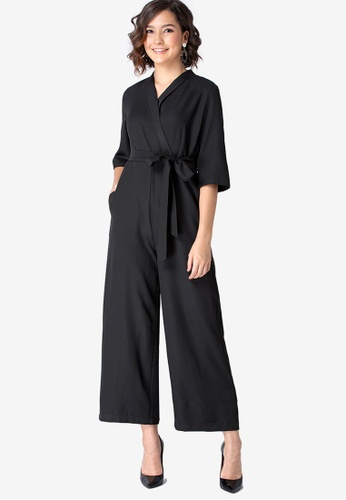 FabAlley black Collared Belted Jumpsuit 8FA97AAD500575GS_1