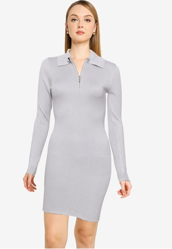 MISSGUIDED grey Zip Front Collar Ribbed Mini Dress 0A275AAC452EB3GS_1