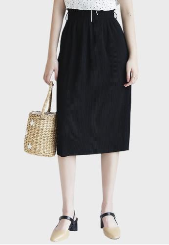Shopsfashion black Pleated Maxi Skirt in Black with Belt Set ABA9EAAFB1E1E9GS_1