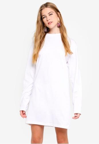 MISSGUIDED white Long Sleeve T-Shirt Dress 00B9FAA2C0D54CGS_1